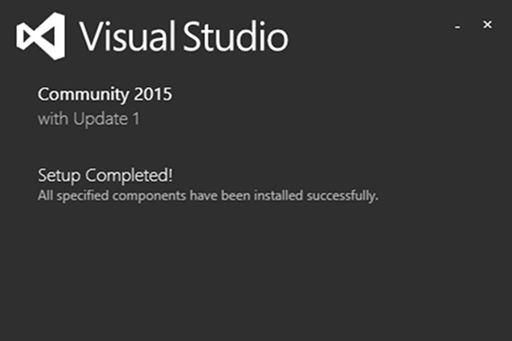 Visual Studio Community 2015 setup completed