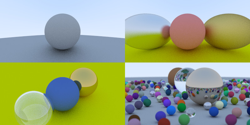 Ray Tracing in One Weekend example scenes
