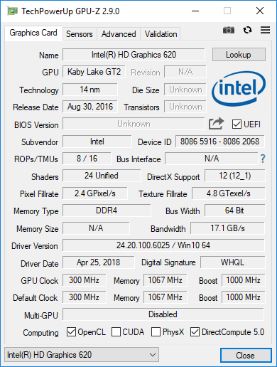 Intel HD Graphics 620 in GPU-Z